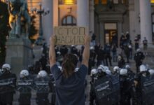 Beating and jailing of non-violent activists followed by protest in front of Belgrade Central Prison