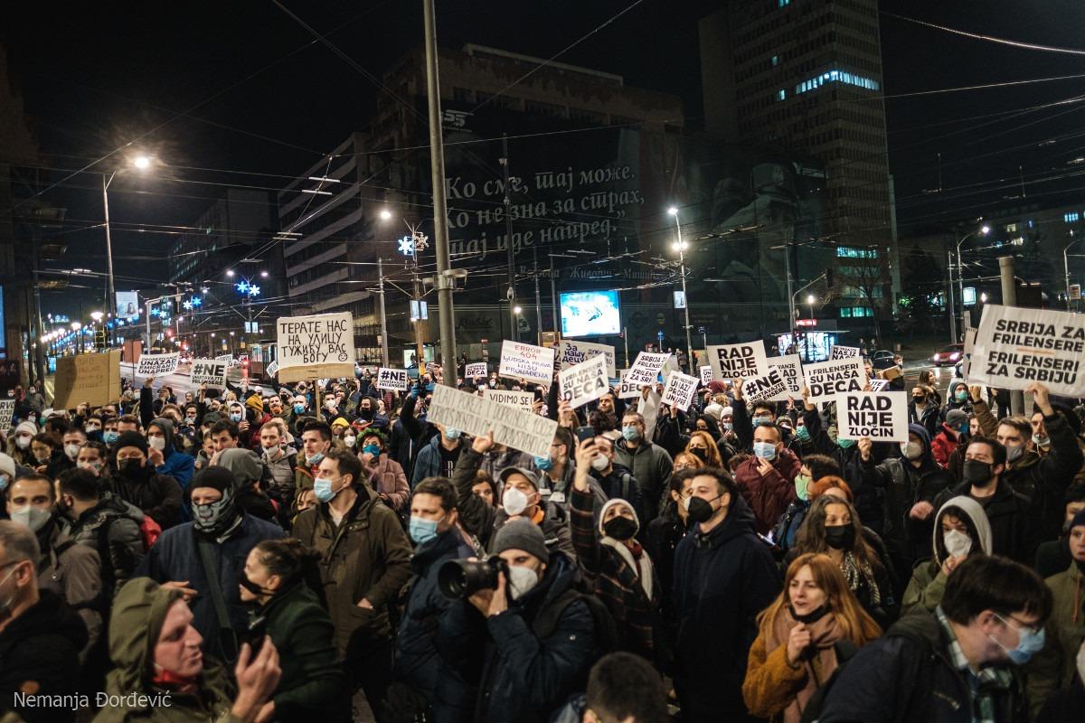 Protest frilensera u Beogradu; Foto: Nemanja Đorđević / Udruženje radnika na internetu / Facebook