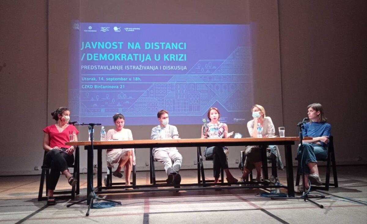 """Predstavljanje istraživanja """"Javnost na distanci, demokratija u krizi"""" u CZKD; Foto: Iskra Krstić / Mašina"""