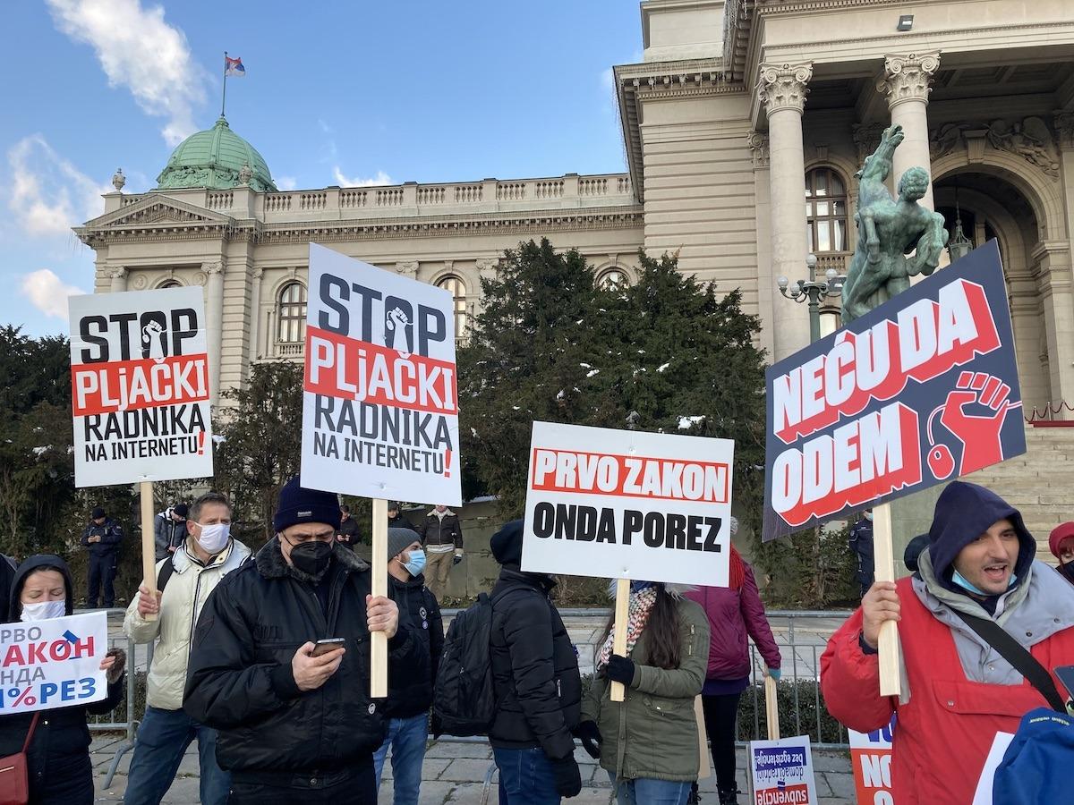 Protest Udruženja radnika na internetu; Foto: Andraš Juhas / Mašina