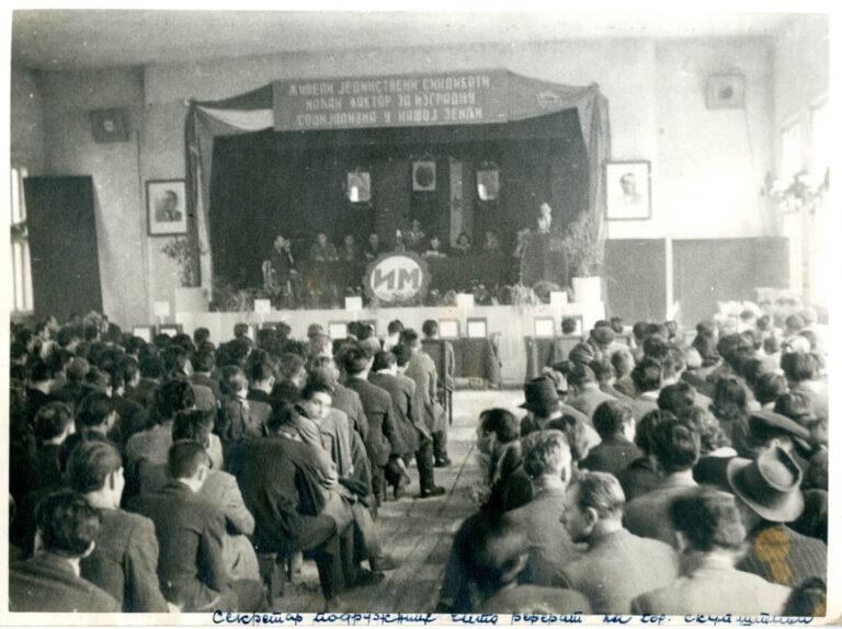 fotografija sindikalnog zbora u fabrici motora u Rakovici