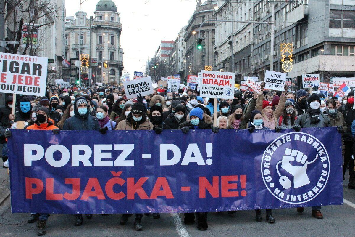 Protest Udruženja radnika na internetu; Foto: Marko Miletić / Mašina