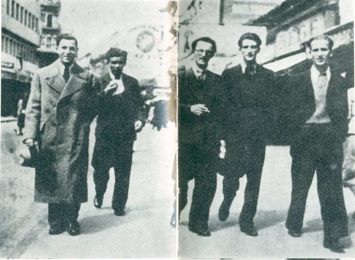 Lola Ribar, Milan Matić, Hasan Brkić, Đura Strugar, Ratko Mitrović, Knez Mihajlova ulica, Beograd, 1937
