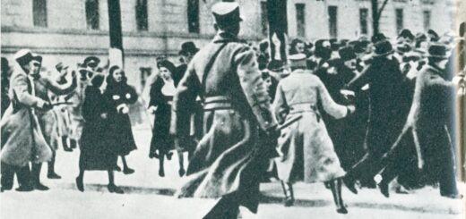 Policija rasteruje demonstrante u beogradu prilikom dolaska Ivona Delbosa, 1937