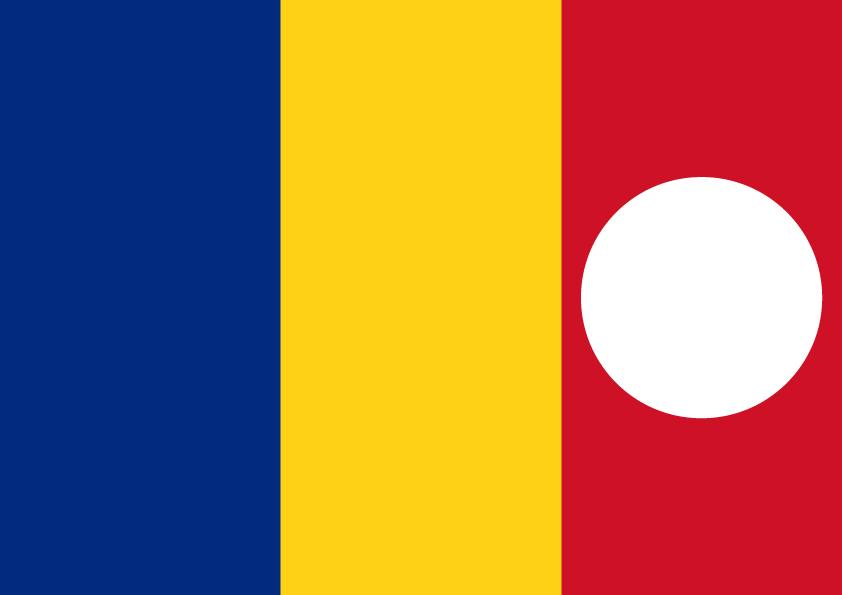 """Čuvena probušena rumunska zastava, s koje je iscepljen socijalistički grb, a koja je obeležila demonstracije koje su prethodile svrgavanju Čaušeskua 1989. godine, modifikovana je u ovoj poruci tako da je rupa premeštena na crveno polje. U skladu sa vrlo prisutnim sloganom """"Crvena kuga""""."""