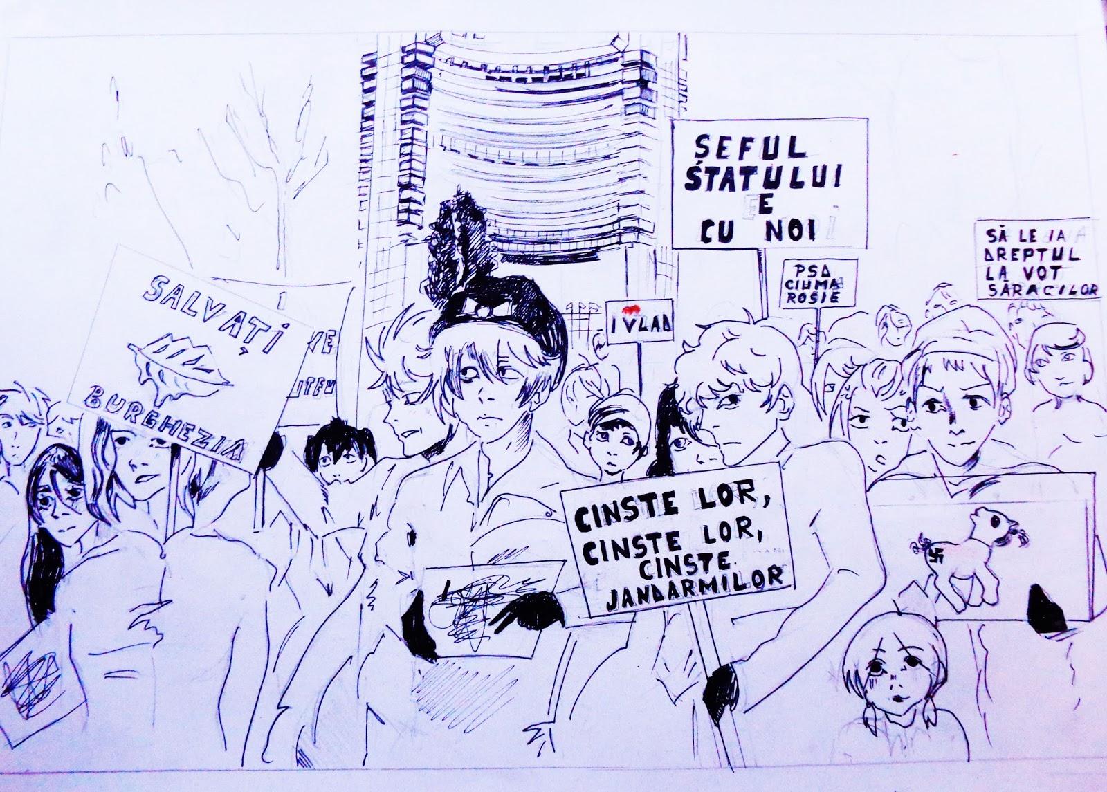 """Laurentiu Ridichie, """"Lepi mladi ljudi protestuju"""", (Parole: """"Spasite buržoaziju"""", """"Šef države je sa nama"""", """"PSD – crvena kuga"""", """"Oduzmite pravo glasa siromašnima""""); izvor: http://laurentiuridichie.blogspot.rs/"""