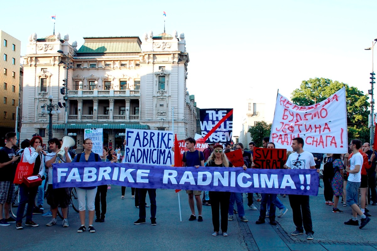 Skup podrške štrajkačima zbog kojeg su podnete prijave; Foto: Iva Janković / Mašina