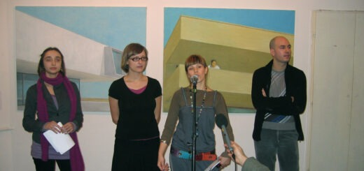 Obraćanje kustosa na otvaranju izložbe u Kontekst galeriji; Foto: Kontekst