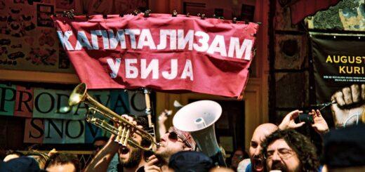 Protest inicijative Ne davimo Beograd prilikom potpisivanja sporazuma za projekat Beograd na vodi; Foto: Matija Jovanović / Mašina