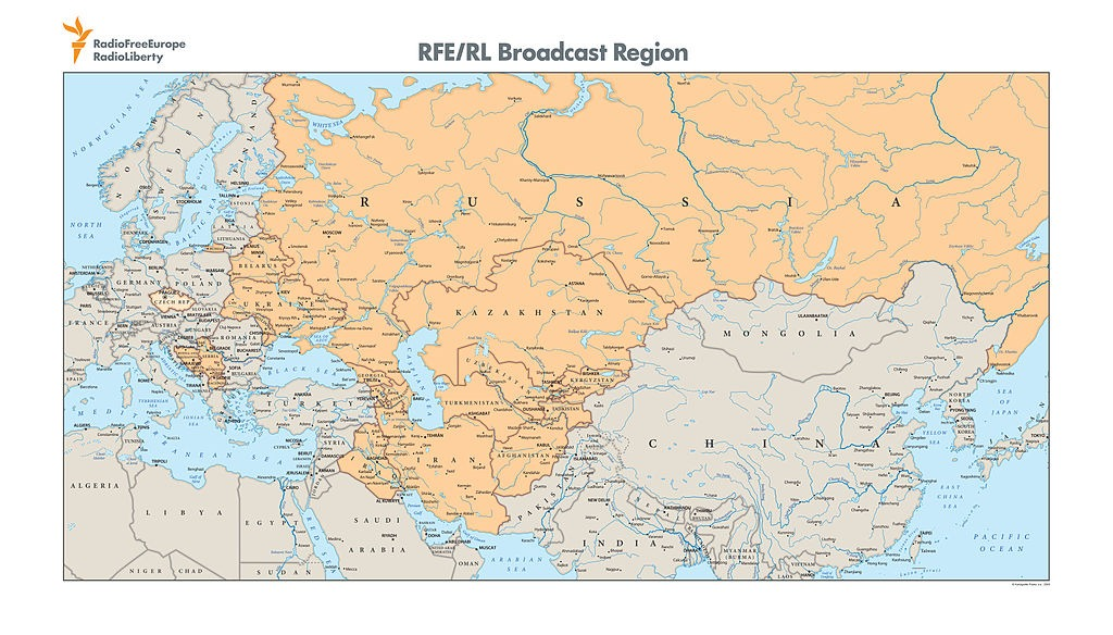 Mapa rasprostranjenosti programa Radija Slobodna Evropa
