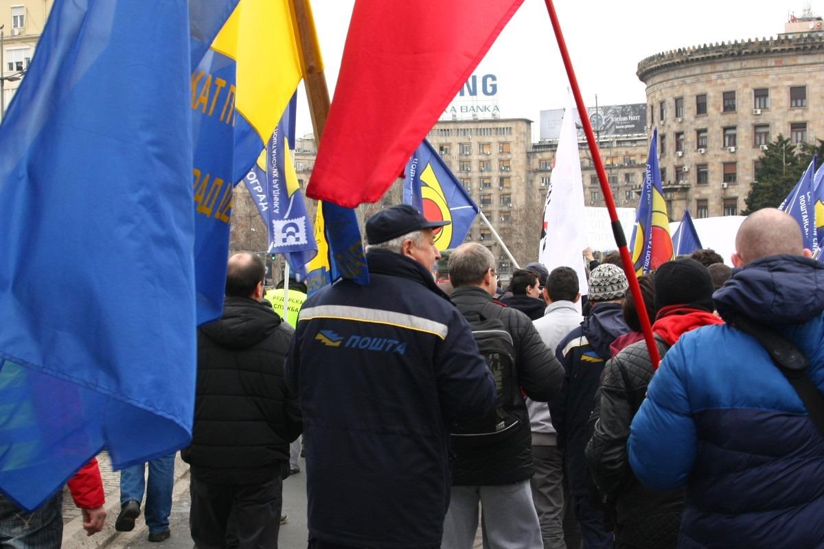 Protestni skup radnika Pošte Srbije; Foto: Marko Miletić / Mašina