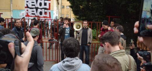 Protest ispred Društvenog centra NNK; Foto: Predrag Momčilović / Mašina