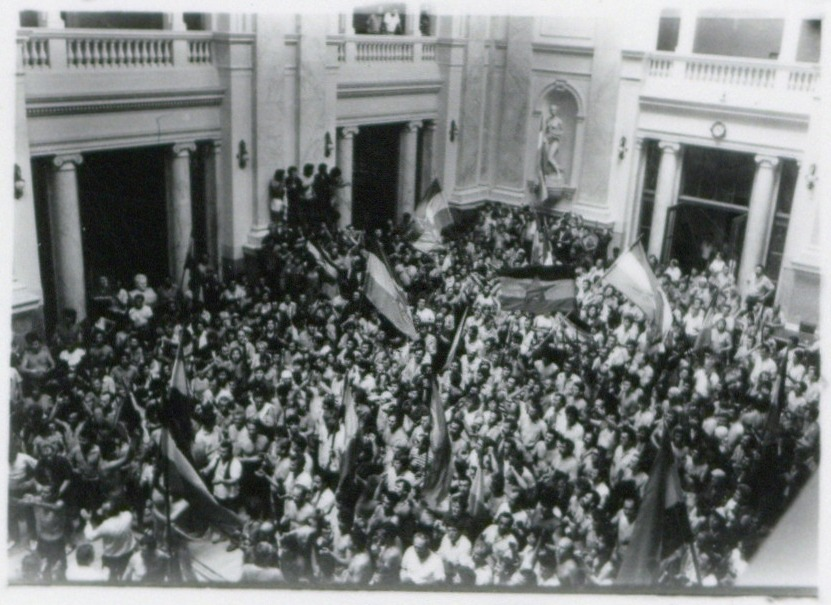 Protest radnika Borova 1988; Izvor: Arhiv Jugoslavije - aj112261kmb-l11703_135