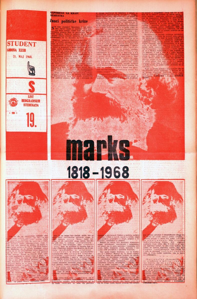 Poslednji majski broj Studenta u znaku stopedesetogodišnjice od rođenja Karla Marksa