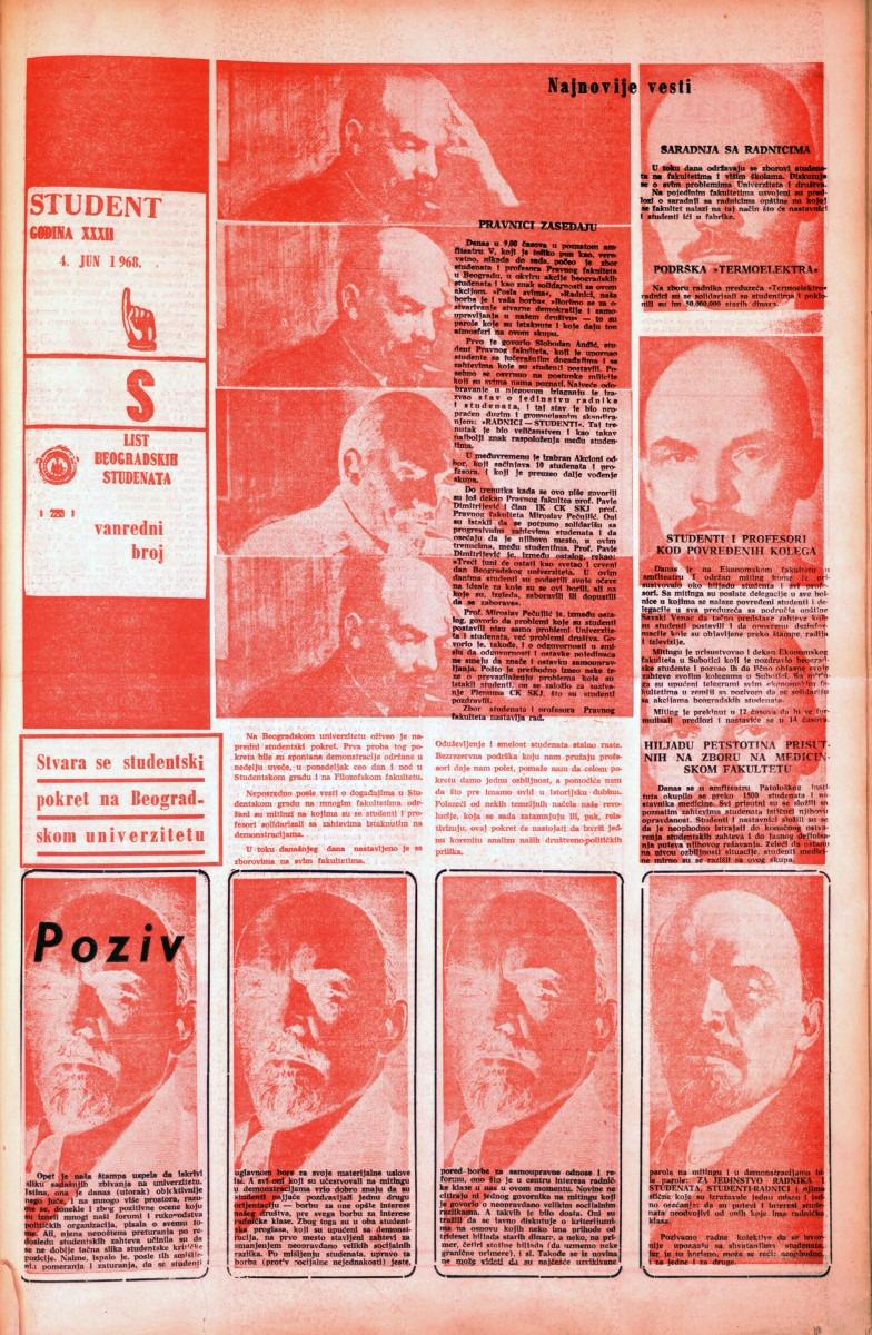 Prvi vanredni broj, 4. jun 1968.