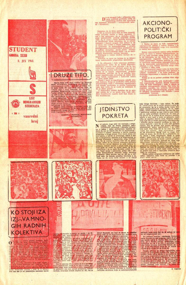 """Studentski zahtevi objavljeni pod nazivom """"Akciono-politički program"""" artikulišu dvostruku ulogu studentskog pokreta."""