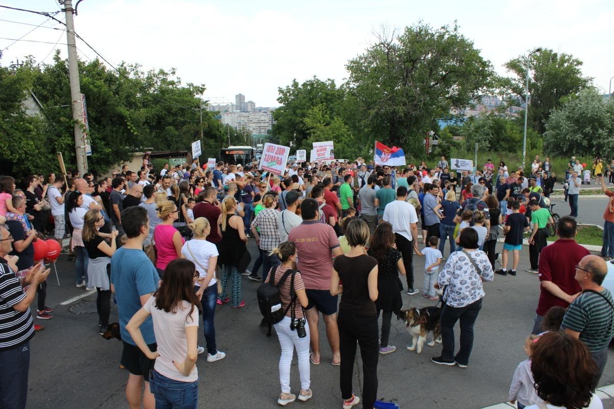 Protest u beogradskom naselju Stepa Stepanovič; foto: Mirjana Dragosavljević / Mašina