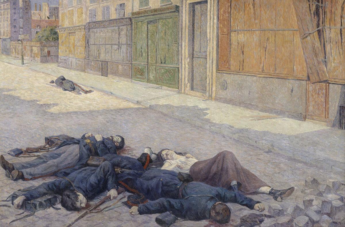 Slika, ulje na platnu, na kojoj je prikaz ubijenih pripadnika Pariske komune nakon krvave nedelje u maju 1871, autor Maksimilijen Luk